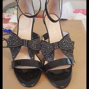 Venus black bow studded heels